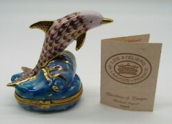 Limoges Dolphin Riding On Wave Peint Main France Hinged Trinket Box