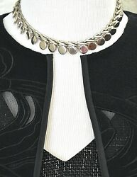 Modernist Chunky Choker Coin Chain Necklace Silver Tone Career Costume Jewelry