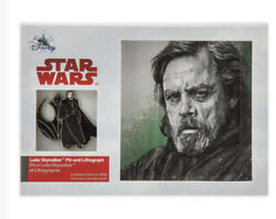 Disney Store Star Wars The Last Jedi Luke Skywalker Pin And Lithograph Le 2000