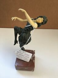 Art Deco Bronze Statue On Marble Base Dancing Girl 1930and039s 1940and039s