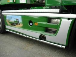 Side Bars + Amber Slim Leds For Volvo Fm Series 2and3 4x2 Stainless Steel Polished