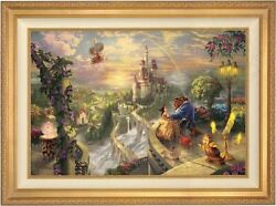Thomas Kinkade Beauty And The Beast Falling In Love 12 X 18 S/n Gold Frame