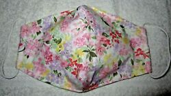 Cute White Flower Design Handmade Fabric Mask Washable Face Cover Filter Pocket $7.00