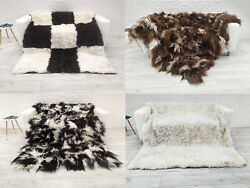 Large Real Icelandic Sheepskin Rug Genuine Hide Patchwork Throw Chair Sofa Cover
