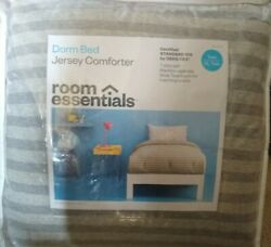 Dorm Bed Jersey Comforter Size Twin XL Twin Gray Striped Bedding Super Soft