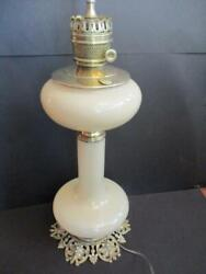 Fabulous Early Paul Hanson 36 Cream Glass And Brass Electrified Oil Lamp