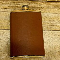 Liquor Flask 8oz Leather Cover Made In England Stainless Steel Gold Plated