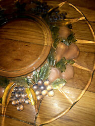 6 Indiana Glass Garland Clear Cake Dessert Plates Flashed W/ Fruit And Colors