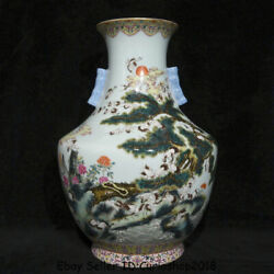 18.6 Qianlong Marked China Famille Rose Porcelain Red-crowned Crane Bottle Vase