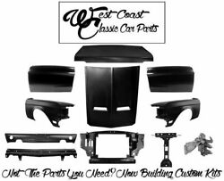 1968 Mustang Coupe Fenders Doors Trunk Lid Hood Latch Core Support Valance Kit +