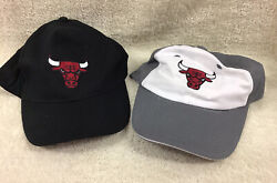 Lot Of 2 Chicago Bulls Baseball Caps - 1 Black And 1 Grey And White