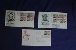 Abraham Lincoln 25c Airmail Stamp 3 Fdcs Fleetwood,hf,artmaster Scc59 05356