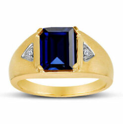 14 K Yellow Gold Menand039s Ring With Faceted Sapphire And Real Diamond Size Us 8 9 10