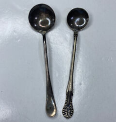 E Lot 2 Mini Hors D'oeuvres Spoons Benedict Mfg Wr Silver Plate