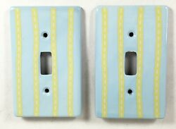 Lot Of 2 Ceramic Light Switch Plates Covers Blue Green Stripe