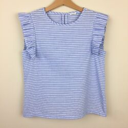 Crewcuts Size 10? 12? Girls' Striped Flutter Sleeve Top Blue White Shirt