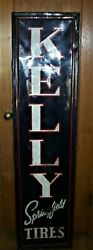 Wood Framed Kelly Springfield Automobile Tires Advertising Tin Sign