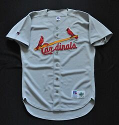 St Louis Cardinals Jersey Blank Russell Gray Spell Out Authentic Sewn Men 44 L