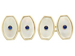 Antique Sapphire And Mother Of Pearl 14carat Yellow Gold Cufflinks Circa 1920