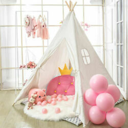 Large Kids Teepee Wigwam Tent Wood Playhouse White Xmas Gift for Boy Girls Gift