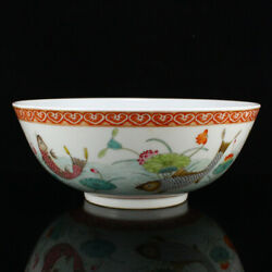 9 Antique Fine Chinese Porcelain Hand Painting Fish Lotus Flower Bowls