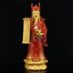 11.6 China Antique Porcelain Hand Painting Gilt Red Glaze God Of Wealth Statues