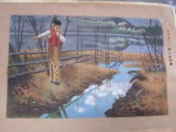 Needlepoint Hand Painted Canvas Boy Playing Flute
