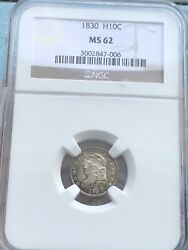 1830 Capped Bust Half Dime Ngc Ms62. Very Choice Uncirculated. Beautiful.