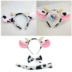 3-piece Cow Headband Set Adorable Cute Ear Bowtie And Tail Prop For Cosplay