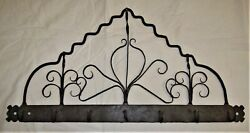Antique Wrought Iron Rack With Hooks 28 1/2