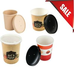 250/case Variations 16 Oz. Bulk Double-wall White Paper Soup Cup W/ Vented Lid