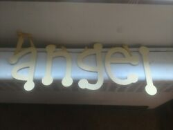 Angel or Angle Wall Decor Letters Yellow Checked Gold Ribbon