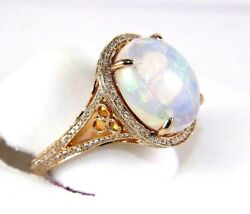 Natural Oval Fire Opal And Diamond Halo Solitaire Ring 14k Rose Gold 6.34ct
