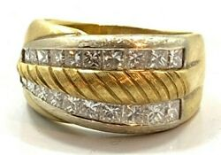 18k Yellow Gold Modern Sculptural Textured And Stylized Diamond Leaf Band