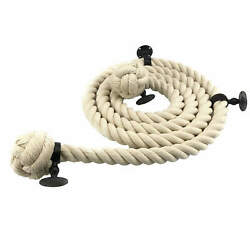 36mm White Synthetic Polyhemp Bannister Handrail Rope X 10ft C/w 4 Black Fitting