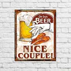 Old Style Beer Nice Couple, Pub Decor, Bar Sign, Beer Gifts, Beer Signs