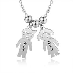 Personalized Kids Girl amp; Boy Pendant Necklace Free Engrave Name Moms Family Gift $10.99
