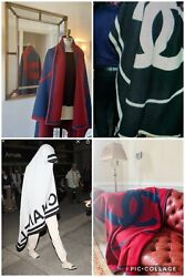 Blanket Red And Navy With Big Cc Logos Limited Edition Great Gift Shawl