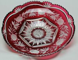 Vintage Possibly Bohemian Very Large Ruby Red Glass Flash Cut Bowl/charger