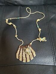 Beaded Glass Seed Medicine/coin/crystal Stash Pouch Necklace W/brass Fox Head