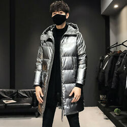 Winter Menand039s Hooded Jacket Shiny Glossy Outwear Korean Overcoat Loose Duck Down