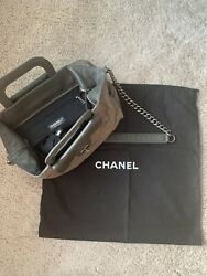 Grey Iridescent Quilted Leather Large Tote Bag Slightly Used + Dust Bag