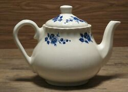 Vintage Heron Cross Pottery Teapot Stoke On Trent England Blue And White Floral