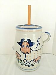 Vint. Louisville Stoneware Rare Polka Dot Cow Butter Churn Crock,used Great Cond