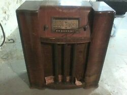 Antique Silvertone Stand Up Radio 1939 Model 6438b Sears Roebuck And Co Tested