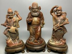 7.8 Old China Shoushan Stone Carved Zhong Kui Catches Ghosts Statue A Set