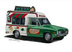 Original Art By N.e.thompson Pizza Truck Drawing Food Truck Drawing Series