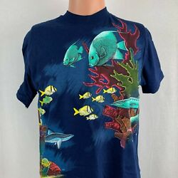 Salt Water Fish Double Sided Single Stitch T Shirt Vtg 90s New Deadstock 1990 M