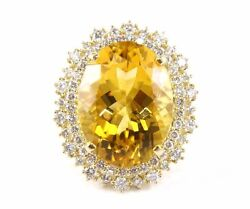 Natural Oval Citrine And Diamond Halo Solitaire Ring 14k Yellow Gold 18.36ct