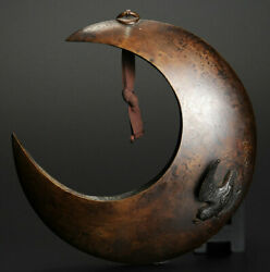 Japanese Antique Crescent Moon And Lesser Cuckoo Bronze Vase By Kano Natsuo Meiji